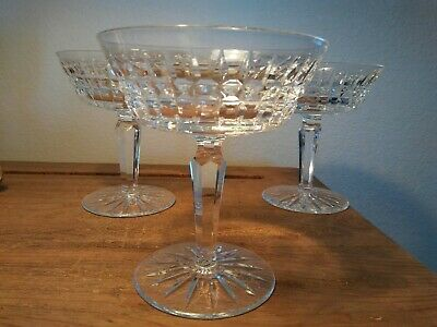 "Set of 3 Signed 4 3/4"" WATERFORD CUT CRYSTAL Glenmore Sherbet Champagne Glasses"