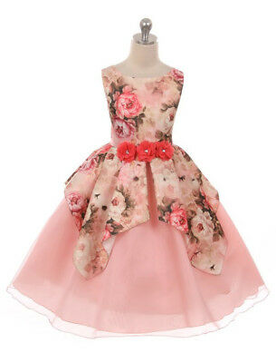 fe27a679b Blush Lilac Flower Girl Dress Floral Satin Organza Overlaid Wedding Party  Easter