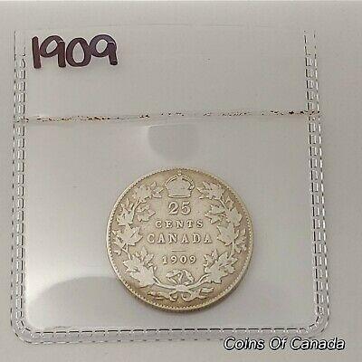 1909 Canada Silver 25 Cents Coin - Sealed In Acid-Free Package #coinsofcanada