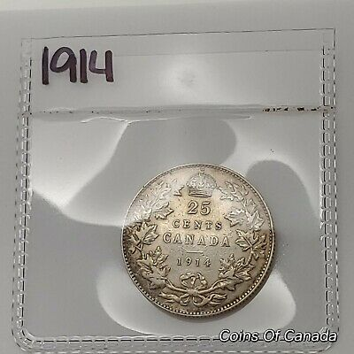 1914 Canada Silver 25 Cents Coin - Sealed In Acid-Free Package #coinsofcanada
