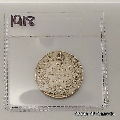 1918 Canada Silver 25 Cents Coin - Sealed In Acid-Free Package #coinsofcanada