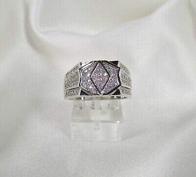 10pc. Wholesale Lot Men's 18k W.G.P. ICED OUT Pave Set Crystal Pinky Rings ~USA~