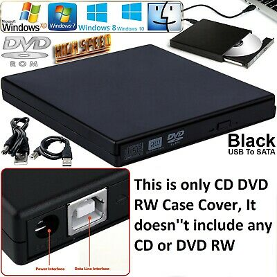 External USB 2.0 DVD Rom CD RW Caddy Case Black to IDE Laptop Enclosure Cover UK