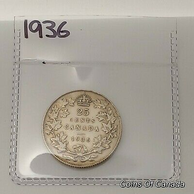 1936 Canada Silver 25 Cents Coin - Sealed In Acid-Free Package #coinsofcanada