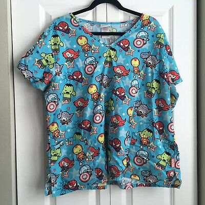 27af4ffe08f Marvel Avengers Assemble Scrub Top Small Captain America Ironman Medical  Shirt S.