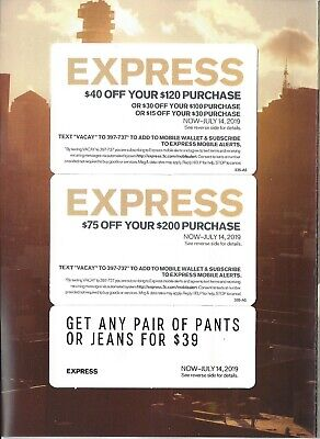 Express Coupons $40 Off $120, $75 Off $200, Pants For $39 Expires July 14