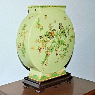 Wong Lee 1895 Flat Sided Vase Hand Painted Birds Green Crackle Pedestal Chinese