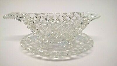 Miniature Cut Glass - Gravy Boat With Saucer.