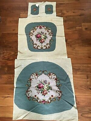 HandMade Woollen Needlepoint Floral Chair Cover Set cross stitch Tapestry Canvas