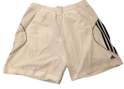 ADIDAS CLIMA365 WHITE & Black Athletic Running Soccer Shorts | Mens Size Large