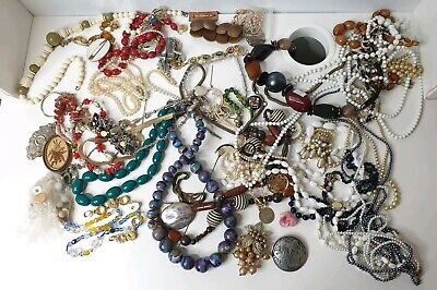 Vintage Large Mixed collection Costume Jewellery Job lot for resale beads NR