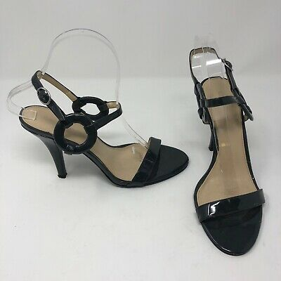 ec62cac286 Calvin Klein 'Ruby' Gray Patent Leather Ring Detail Peep Toe Career Heels  Shoes
