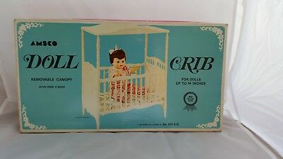 ADORABLE Vintage AMSCO DOLL CRIB 1968. Complete. A MUST SEE!