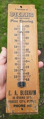Antique Vintage Wooden Dierks Flooring Advertising Thermometer c1920's