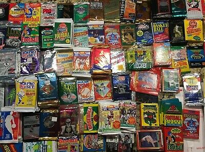 Huge Lot of 70+Unopened Old Vintage Sports Cards in 5 Wax Packs 25+YO Mix 👀FBBB
