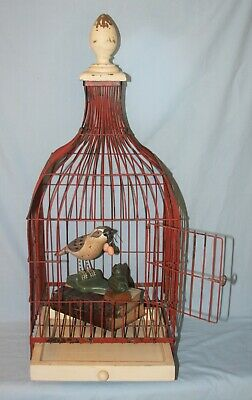 VINTAGE WOODEN BIRD cage approximately 32 tall x 23 wide in