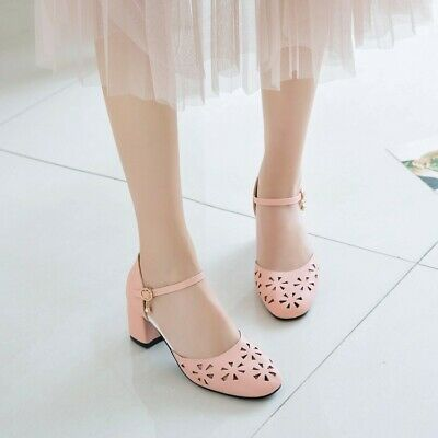 f553f395d2 Women Hollow Mary Jane Sandals Ankle Strap Block Mid Heels Round Toe Pumps  Shoes
