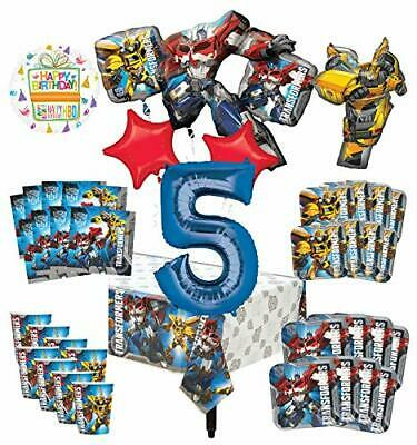 Transformers 5th Birthday Party Supplies 8 Guest Decoration Kit and Balloon B...