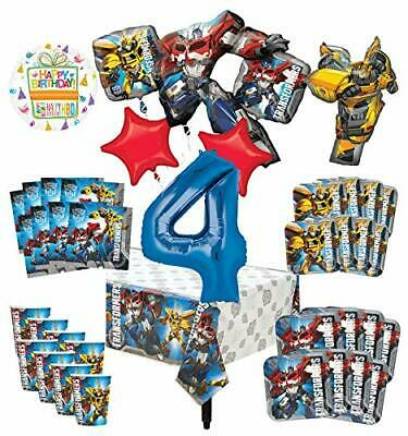 Transformers 4th Birthday Party Supplies 8 Guest Decoration Kit and Balloon B...