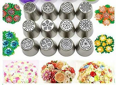 12x Russian Piping Tips Flower Cake Icing Nozzles & Cupcake Decorating Tips Kit