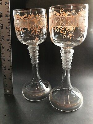 2 19th c Antique Hand Paint Gold Enamel Fleur Lis Blown Glass Chalice Wine Stems