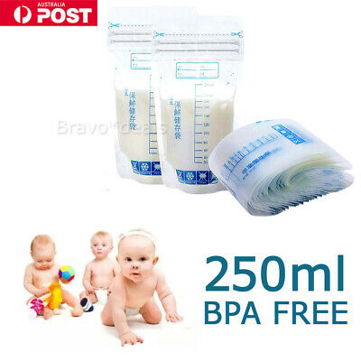 100X Pre-sterilised Baby Breast Milk Storage Freezing Bag Pouch BPA FREE 250ml