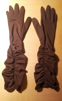 "Vtg 50s Fownes Embraceable Ruched Brown Nylon Gloves 18"" Elbow Length 6-7 1/2"