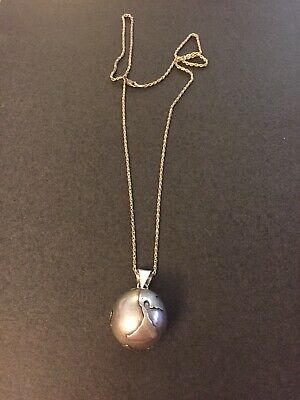925 Sterling Mexico Silver Globe Chime Big Ball Pendant Chain Necklace