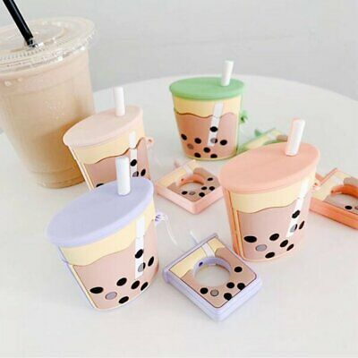 Cute Pearl Milk Tea Cup Protective Cover Shockproof Case Skin for Airpods GN