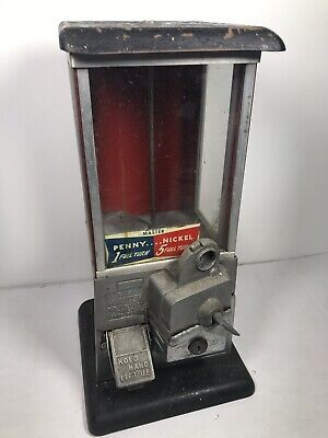 Vintage Unrestored 1923 Red & Black Masters Gumball Machine — NO KEY - FAST SHIP