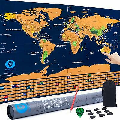Scratch Off World Map 33x24 Travel Poster States Country Flags Large Wall Trip