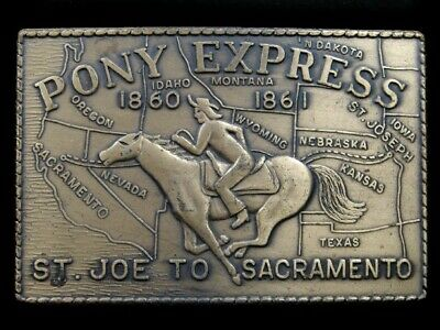 SB09109 VINTAGE 1970s **PONY EXPRESS ST. JOE TO SACRAMENTO** BELT BUCKLE