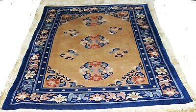 Antique Authentic 1910 Chinese Peking All Wool Art Deco Hand knotted Rug 4x6