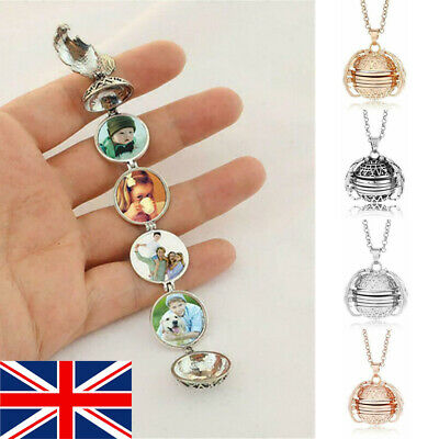 UK Expanding 4 Photo Locket Necklace Magic Ball Angel Wing Pendant Memorial Gift