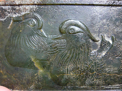 """Chinese Antique Old Jade Pair Mandarin Duck Huge Plaque Love Totem Carving 8.25"""""""