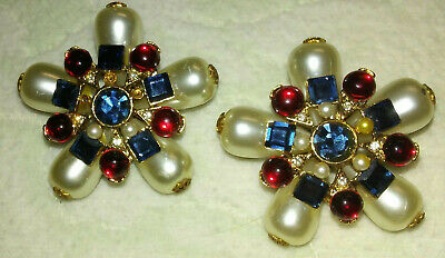 """Beautiful Vintage Signed Craft 2"""" Large Clipon Rhinestone Pearly Flower Earrings"""