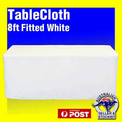 Tablecloths Wedding FITTED Rectangle Table Cloths 8ft White Event Market Trestle
