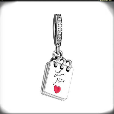 35016708c Authentic S925 Sterling Silver Love Notes Notebook Heart Charm Valentine's  Day