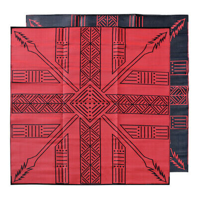 RECYCLED Outdoor Rug | Tiwi Islands Tutuni Design, 3m Square Red Black