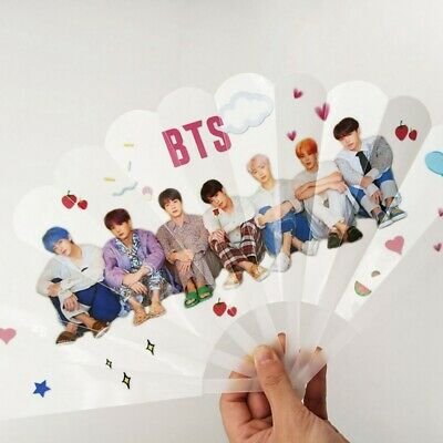 Kpop BTS Portable PVC Hand Held Fan HD Photo Foldable Mini Fan JK V Summer Gift