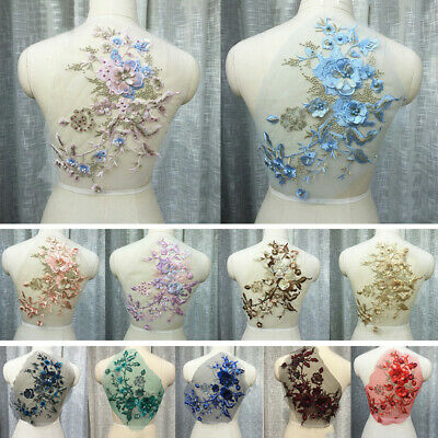 3D DIY Embroidery Flower Bridal Lace Applique Pearl Beaded Tulle Dress Decor 1pc