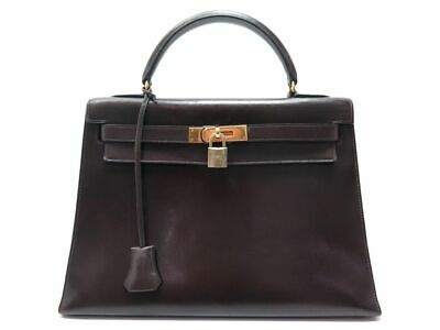 4e1c75b63c Vintage Sac A Main Hermes Kelly 32 Sellier Cuir Box Brown Leather Hand Bag  7500€