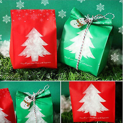 50pcs Christmas Candy Gift Bag Sweet Favour Paper Cake Biscuit Xmas Party 7N