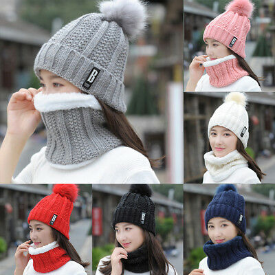 Womens Snow Beanie Pom Hat Thick Neck Warmer Cable Scarf Winter Knit 2pcs Sets