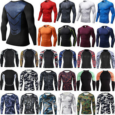 Mens Compression Long Sleeve Fitness Tights Base Layer Sports Activewear Tops