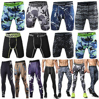 Men Compression Fitness Camouflage Shorts Sports Base Layer Skin Pant Activewear