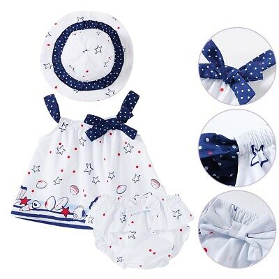 07ab2e9c9 Newborn Baby Girls 3pcs Clothing Outfit Dress Hat Set Simple Beach Summer  Outfit