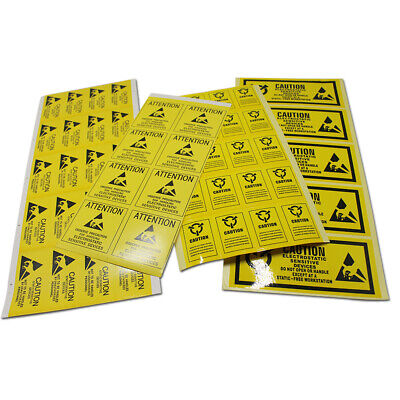 Yellow Caution Kraft Paper Rectangle Stickers Anti-static Self Adhesive Label