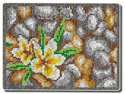 Yellow flower Printed Canvas Latch Hook Rug Kit - Rug Making