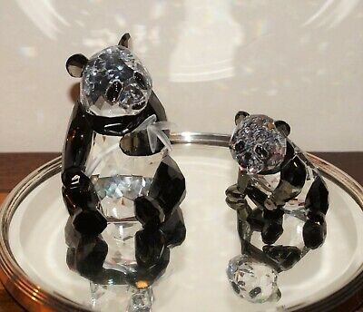 Swarovski Crystal Collezione Pandas Mother And Baby Con Scatola Originale